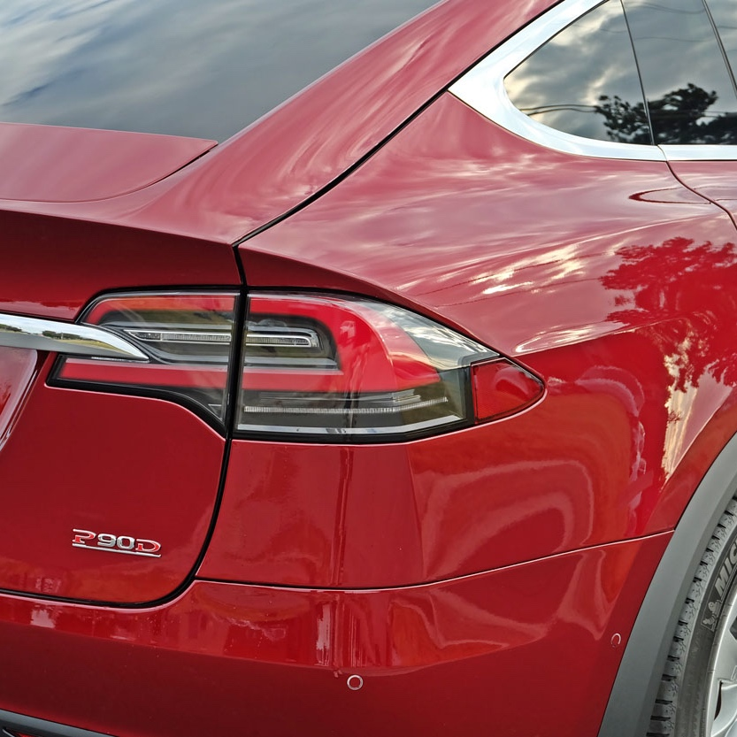 SunTek Ultra PPF wrapped red Tesla Model X P90D